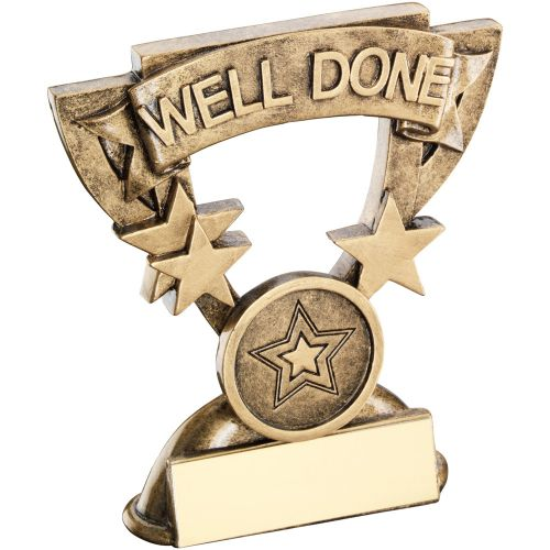 Bronze Gold Well Done Mini Cup Trophy Award Trophy - (1in Centre) 3.75in