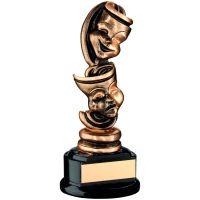 Bronze Gold Black Drama Masks Trophy 6.5in