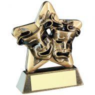 Bronze/Gold Drama Masks Mini Star Trophy 3.75in