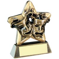 Bronze Gold Drama Masks Mini Star Trophy 3.75in