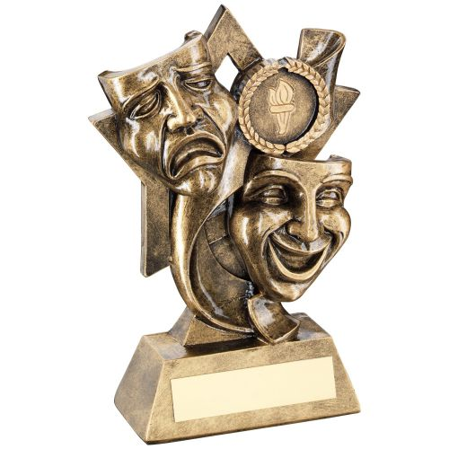 Bronze Gold Drama Masks On Star Backdrop Trophy - (1in Centre) 5.75in