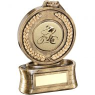 Bronze Gold Medal And Ribbon With Cycling Insert Trophy - 5in