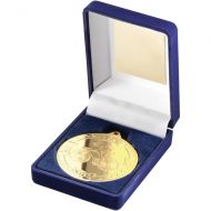 Blue Velvet Box And Medal Cycling Trophy Gold 3.5in