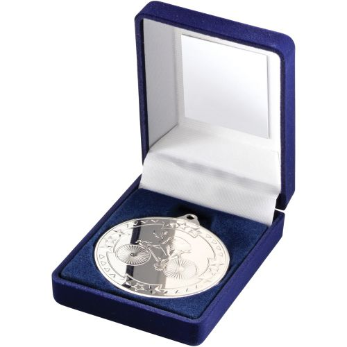Blue Velvet Box And Medal Cycling Trophy Silver 3.5in