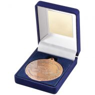 Blue Velvet Box And Medal Cycling Trophy Bronze 3.5in