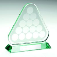 Jade Glass Pool Snooker Balls In Triangle Trophy - 6.75in