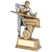 Bronze Pewter Male Pool Snooker Figure With Star Backing Trophy Award - 6in