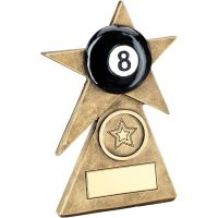 Bronze Gold Black Pool Star On Pyramid Base Trophy - (1in Centre) - 6in