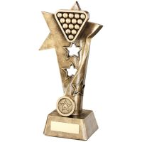 Bronze Gold Pool Snooker Twisted Star Column Trophy - (1in Centre) 9in