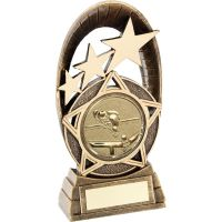 Bronze Gold Generic Tri-Star Oval With Pool Snooker Insert Trophy - 7.25in