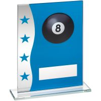 Blue Silver Printed Glass Plaque With Pool Ball Image Trophy Award - 8in
