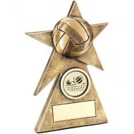 Bronze/Gold Volleyball Star On Pyramid Base Trophy - (1in Centre) - 4in