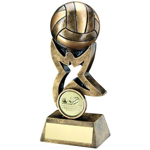 Bronze Gold Volleyball On Star Trophy Riser Trophy 5.5in