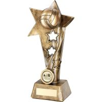 Bronze Gold Volleyball Twisted Star Column Trophy - (1in Centre) 9in
