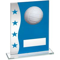 Blue Silver Printed Glass Plaque With Volleyball Image Trophy Award - 7.25in