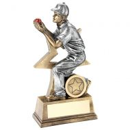 Bronze Pewter Red Cricket Fielder Figure With Star Backing Trophy Award - 7in