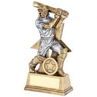 Bronze Pewter Cricket Batsman Figure With Star Backing Trophy Award - 6in