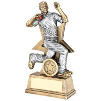 Bronze Pewter Red Cricket Bowler Figure With Star Backing Trophy Award - 6in