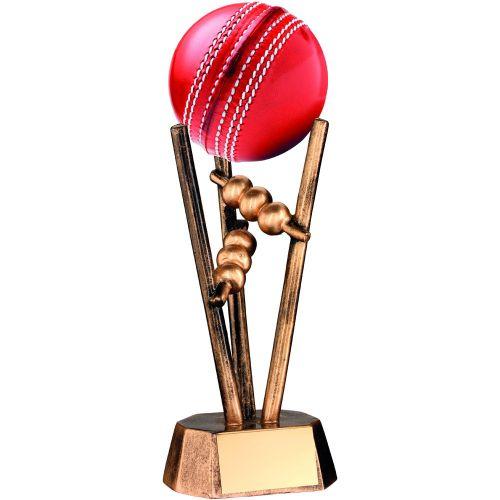 Bronze Gold Resin Cricket Ball Holder - 6.5in