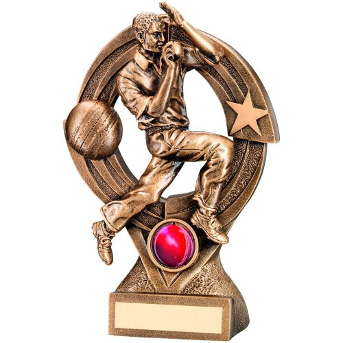 Bronze Gold Cricket Bowler and Quartz and Figure Trophy - 8.25in