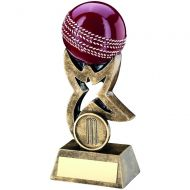 Bronze Gold Red Cricket Ball On Star Riser Trophy 4in