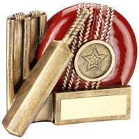 Bronze Red Cricket Ball, Bat And Stumps Chunky Flatback Trophy Award - 4.25in