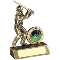 Bronze Gold Mini Cricket Batsman Trophy 4.75in