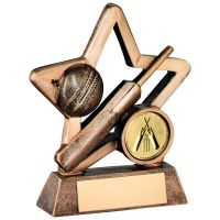 Bronze Gold Resin Cricket Mini Star Trophy - 4.25in