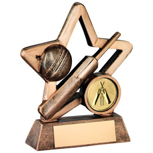 Bronze Gold Resin Cricket Mini Star Trophy - 3.75in