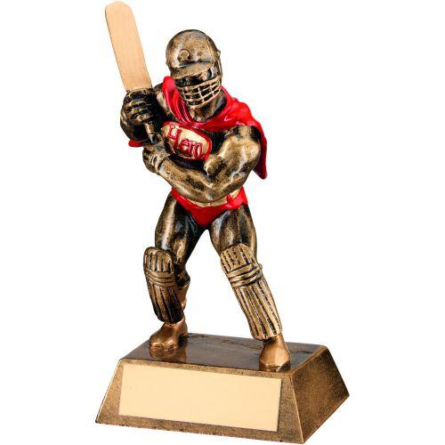 Bronze Gold Red Resin Cricket Hero Trophy - 6.5in