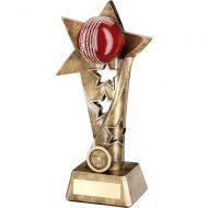 Bronze Gold Red Cricket Twisted Star Column Trophy - (1in Centre) 7.5in