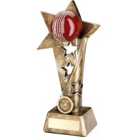 Bronze Gold Red Cricket Twisted Star Column Trophy - (1in Centre) 10.25in