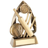 Bronze Gold Gold Cricket Diamond Collection Trophy Award - 5in
