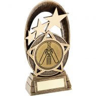 Bronze Gold Generic Tri-Star Oval With Cricket Insert Trophy - 7.25in