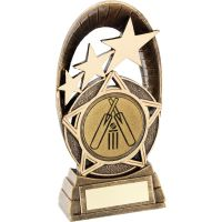 Bronze Gold Generic Tri-Star Oval With Cricket Insert Trophy - 5.5in