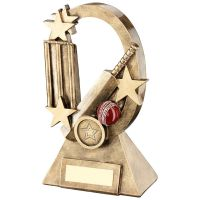 Bronze Gold Red Cricket Oval Stars Series Trophy - (1in Centre) 8.25in
