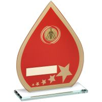 Red Gold Printed Glass Teardrop With Cricket Insert Trophy - 8in