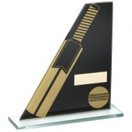 Black Gold Printed Glass Plaque With Cricket Bat Ball Trophy - 6.5in
