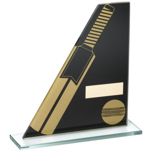 Black Gold Printed Glass Plaque With Cricket Bat Ball Trophy - 7.25in