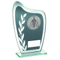 Grey Silver Glass Plaque With Cricket Insert Trophy 6.5in