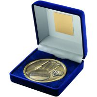 Blue Velvet Box+Medal Cricket Trophy - Antique Gold 4in