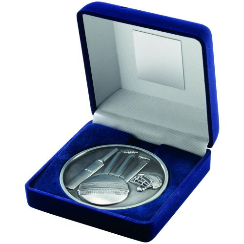 Blue Velvet Box+Medal Cricket Trophy - Antique Silver 4in