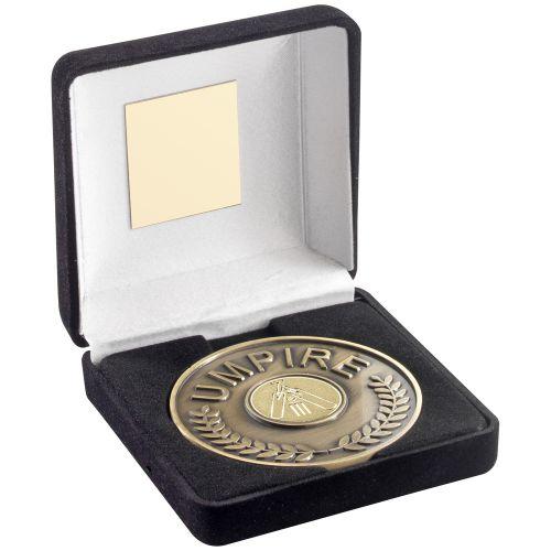 Black Velvet Box And 70mm Umpire Medallion With Cricket Insert - Antique Gold -