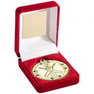 Red Velvet Box And Gold Cricket Medal Trophy - 3.5in