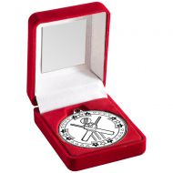Red Velvet Box And Silver Cricket Medal Trophy - 3.5in