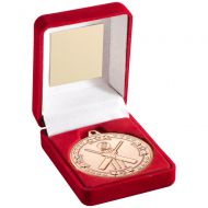 Red Velvet Box And Bronze Cricket Medal Trophy - 3.5in