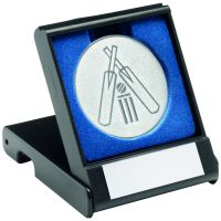 Black Plastic Box And Silver Cricket Centre - 3.5in