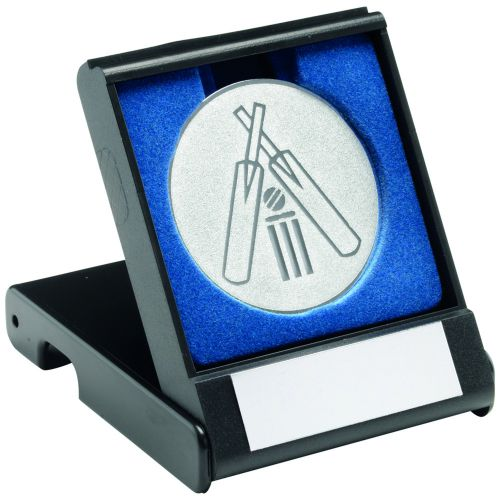 Black Plastic Box And Silver Cricket Centre - 3.5in