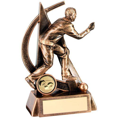 Bronze Gold Male Lawn Bowls Geo Figure Trophy - 5.75in