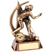 Bronze Gold Female Lawn Bowls Geo Figure Trophy - 6.5in
